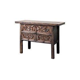 雕花三屉桌 Table with 3 drawers QB17080106