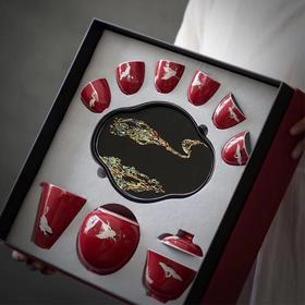 宫廷禧手绘白鹤功夫茶具家用送礼套装陶瓷盖碗漆木茶盘套组礼盒装