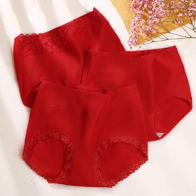 润微大红色内裤女本命年柔软舒适蕾丝全棉裆少女印花三角裤3条装 旋从南白