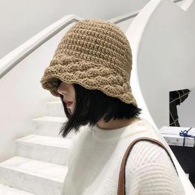 桶帽女秋冬手工针织花边毛线渔夫帽韩版甜美可爱显脸小保暖帽子