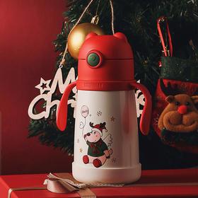 杯具熊圣诞节儿童学饮保温杯带吸管两用水杯