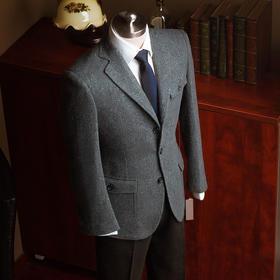 冬季现代改良简洁款诺福克粗呢粗纺夹克