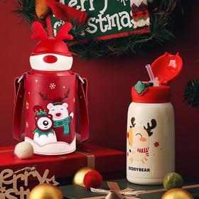杯具熊圣诞保温杯儿童带吸管水壶小学生宝宝幼儿园水杯子礼物