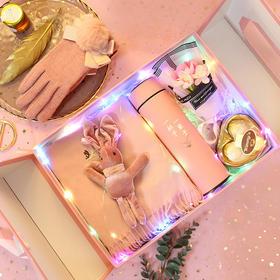 「超走心的圣诞浪漫礼物」巧克力+韩国兔兔玩偶+花束+围巾+手套+保温杯+香水+口红一套满足她 送女朋友圣诞节七夕情人节礼品套装