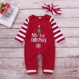 圣诞节宝宝连体包屁哈衣头花两件套