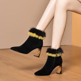 OLD-1609秋冬新款时尚百搭双色貂毛羊反皮靴