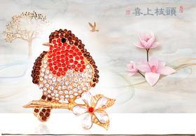 【清仓特价 不退不换】DHSP-BT6662新款红色水钻动物鸟胸针TZF
