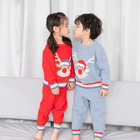 圣诞麋鹿软绵绵套装儿童保暖家居套