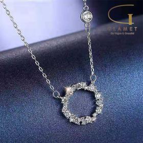 尚镁蓝色大海的传说同款925纯银多锆石项链韩国气质毛衣链锁骨链饰品  L90003