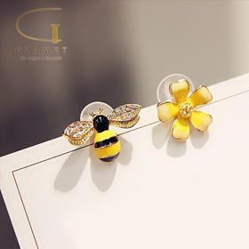尚镁精灵耳环韩国气质个性925银针耳坠软妹不对称花朵耳钉蜜蜂耳饰 L90009