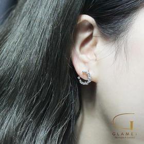 尚镁小清新森系复古月牙形月亮形状耳钉女S925纯银韩国气质镶钻防过敏  L90004