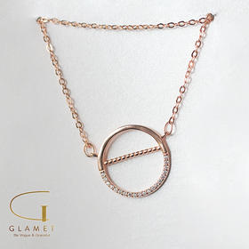 尚镁925银镶钻圆圈镂空个性锁骨链 L90006