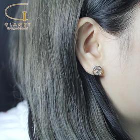 尚镁电镀925银圆形镂空麋鹿耳钉L90007