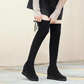 【长靴】百搭内增高平底长筒靴子显瘦高筒弹力女靴+180积分