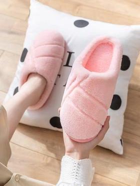 棉拖鞋女家用秋冬家居可爱情侣室内防滑月子产后半包跟毛绒拖鞋男