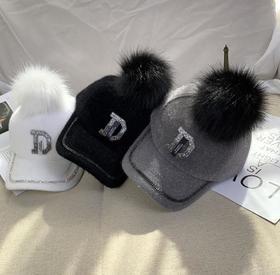 【帽子】秋冬款镶钻水钻女士鸭舌帽+150积分