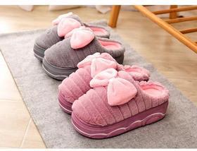 高跟棉拖鞋女厚底家居室内拖鞋冬防滑保暖蝴蝶结可爱毛绒外穿韩版