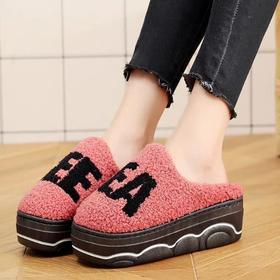 新款高跟拖鞋女冬季厚底韩版可爱室内家居字母棉拖鞋时尚外穿防滑