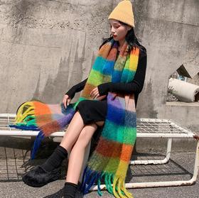 【围巾】秋冬经典圈圈纱拼色百搭英伦彩色格子围巾+160积分