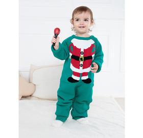 圣诞秋冬婴儿针织连体衣 毛线卡通加厚内里超柔保暖男女童爬服