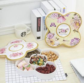 【糖果盒】 密胺果盒干果盒分格密封四叶糖盒+150积分