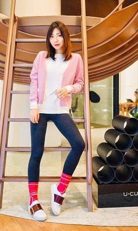 MAISON COVET  自有品牌 粉色纯山羊绒菱形细节拼色开衫