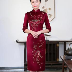 LHS1083红新款时尚复古立体绣花中长袖旗袍TZF