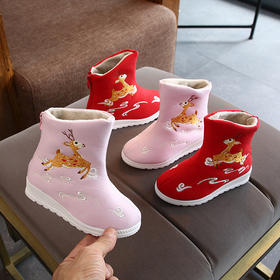 LLFS短靴绣花鞋新款复古中国风加绒加厚儿童绣花鞋TZF