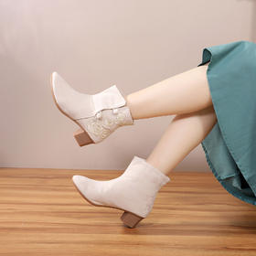CTSM1999-11新款时尚复古民族风绣花布单靴TZF