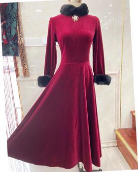 FMS新款时尚复古丝绒酒红旗袍大裙摆TZF