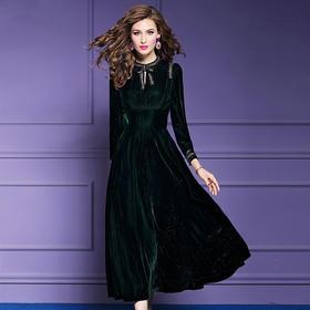 FMY20323新款修身长袖气质丝绒连衣裙TZF