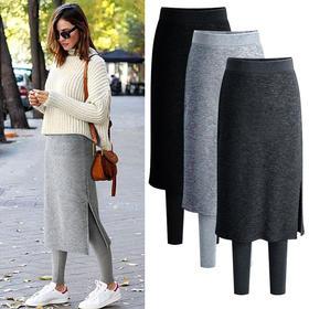 OMW4015新款保暖加绒带裙子的假两件打底裤裙TZF