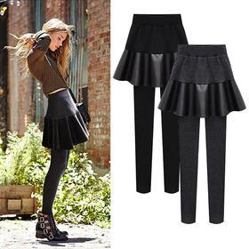 OMW4012新款加绒加厚大码PU皮假两件打底裙裤TZF