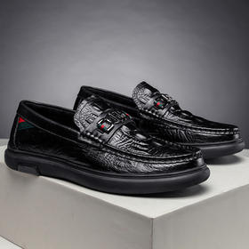 YMLXY9981新款鳄鱼纹牛皮软底懒人鞋TZF