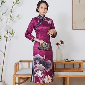 FD-QC1697713新款真丝加棉手工盘扣旗袍裙TZF