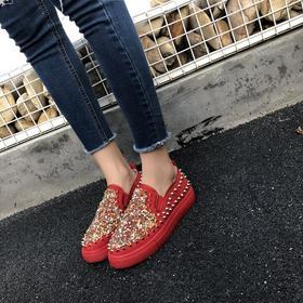SWD新款女式纯色水钻橡胶绒面棉鞋TZF