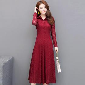 修身翻领,高贵气质蕾丝连衣裙YW-JHL-C212