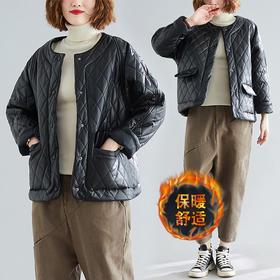 GN-YG1629新款韩版宽松文艺夹棉短款皮质外套TZF