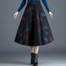 AGLY-FS9710新款收腰复古印花毛呢保暖半身裙TZF