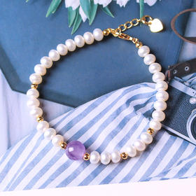 DKBS987新款天然珍珠搭配薰衣草手链TZF