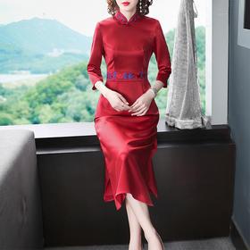 OG5001新款中国风立领开衩改良旗袍裙TZF