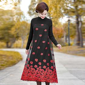 AHM-yll9090新款时尚欧根线拼接针织连衣裙TZF