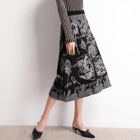 SHJS101-9017新款韩版气质高腰印花半身裙TZF
