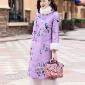 OG99102新款中国风重工喜鹊刺绣旗袍连衣裙TZF