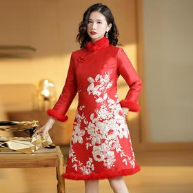 XZY-QF190824新款复古国风提花夹棉中旗袍裙TZF