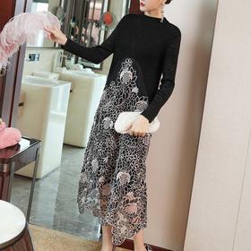 FNZDC555装新款气质宽松民族风重工刺绣连衣裙TZF