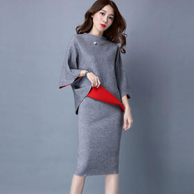 SHJS-JVC328新款休闲半高领针织修身包臀裙套装TZF