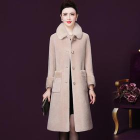WXY-W-BLFR-1917W新款水貂毛领宽松保暖羊剪绒大衣TZF