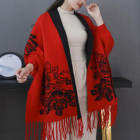 JPYM新款韩版保暖牡丹系列提花围脖披肩TZF