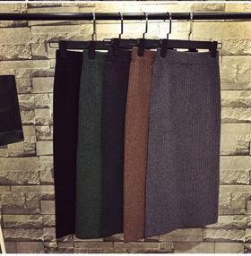 HPFS5603新款后开叉一步裙针织半身裙TZF 买一送一 限时抢购